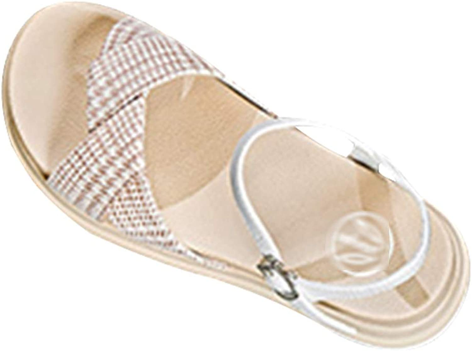 Plaid Sandals Muffin Platform shoes Fashion Wild Roman shoes Wild Beach Sandals Wedge Summer shoes Mid Heel Sandals for Women Dress shoes, Increased, Thin (color   Beige, Size   39 US8)