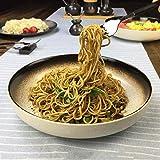 DJY-JY Cuenco japonés de 10 pulgadas de cerámica plato de comida hogar vajilla redonda desayuno plato creativo retro grande pescado ensalada fruta sopa profunda plato