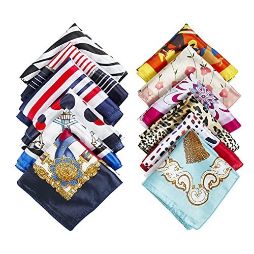 Comius Sharp 12 pcs Pañuelo de Seda Cuadrado para Mujer, Seda Cuadrado Bufanda Neck Head Hair Wraps (50 x 50cm)