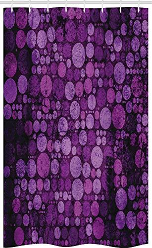ABAKUHAUS Lila Schmaler Duschvorhang, Vintage Grunge Kreise, Badezimmer Deko Set aus Stoff mit Haken, 120 x 180 cm, Aubergine Lila & Lila