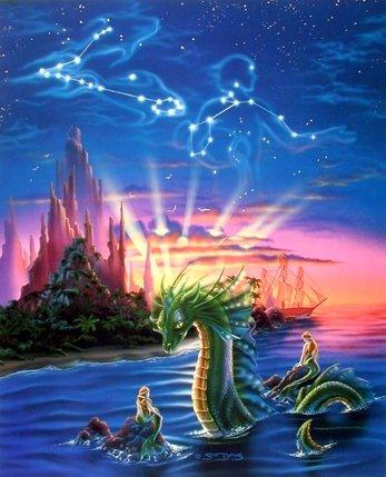 Lady Mermaid and Ocean Dragon Sue Dawe Fantasy Wall Decor Art Print Poster (16x20)