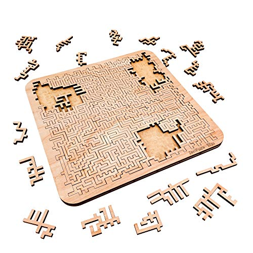 Mind Bending Wooden Jigsaw Puzzle | Aztec Labyrinth | Expert Level Difficult Puzzles for Adults and Kids | 100 Pieces | 11.3' x 11.3""