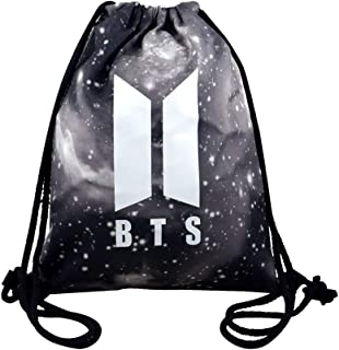Rainlemon Kpop BTS Bangtan Boys Drawstring Bags Galaxy BTS New Logo Love Yourself Backpack Shoulder Bag
