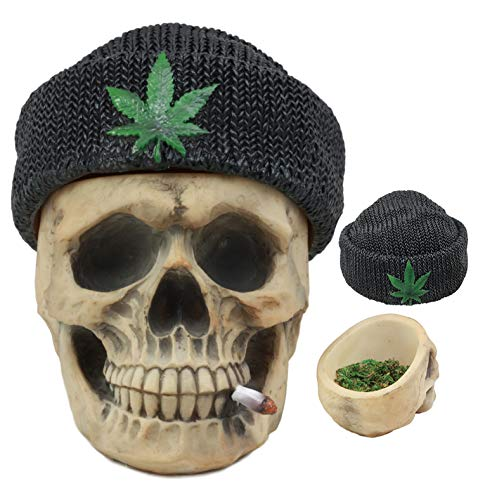 Ebros Got Weed? Day of The Dead Ossuary Smoking Human Skull With Cannabis Weed Leaf Beanie Hat Ashtray Jewelry Box Figurine Skeleton Cranium Trinket Stash Box Statue 6.5'Long Or As Cigarette Ashtray
