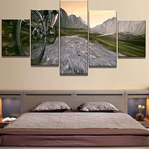 KAIASH Lienzo Pintura 5 Cuadro de Lienzo Tipo de Ciclismo decoración del hogar artísticos para Interiores