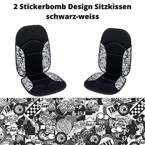 Stickerbomb zitkussen zwart-wit, blacksign zwart-wit