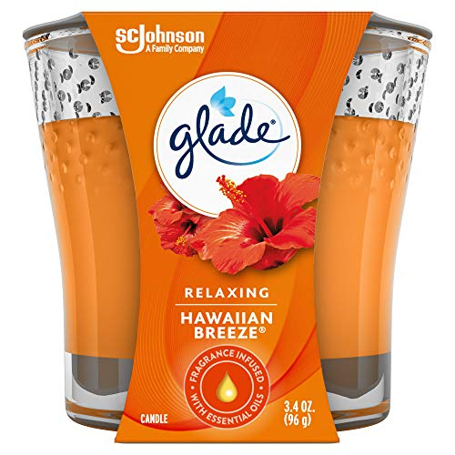 Glade Candle Jar, Hawaiian Breeze, Essential Oil Infused Fragrance, 3.4 oz