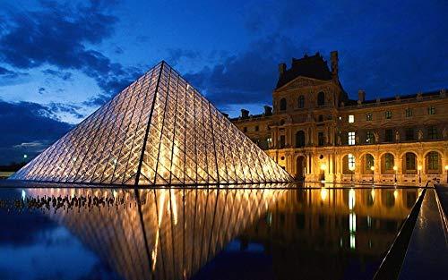 Rompecabezas 1000 Piezas Paris Louvre Vista Nocturna Puzzle Clásico 3D Puzzle Diy Kit Juguete De Madera Regalo Único Decoración Para El Hogar