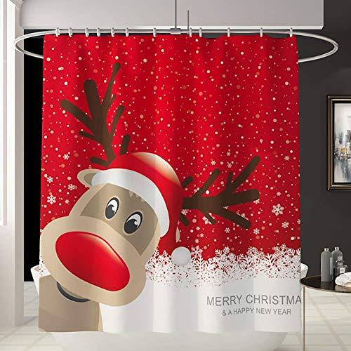 JameStyle26 Duschvorhang Weichtsmann Tannenbaum Schneemann Xmas Weihnachtsbaum Vorhang Digitaldruck inkl. Vorhangringe Anti Schimmel Badezimmer Badewanne waschbar (180 x 200 cm, Rudolph)