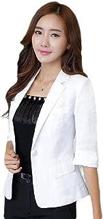 neveraway Women 1 Button Linen Career 3/4 Sleeve Basic Style Jacket Blazer Coat