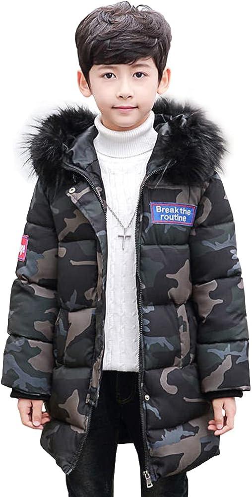 LPATTERN Kids Hooded Warm Winter Coat with Fur Hood Thicken Puffer Jacket Windproof Outwear for