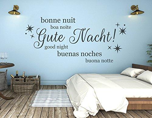 tjapalo® s-pkm252 Wandtattoo Schlafzimmer Wandaufkleber Wandsticker Gute Nacht in vielen Sprachen (Breite140 x Höhe 58 cm (Top))