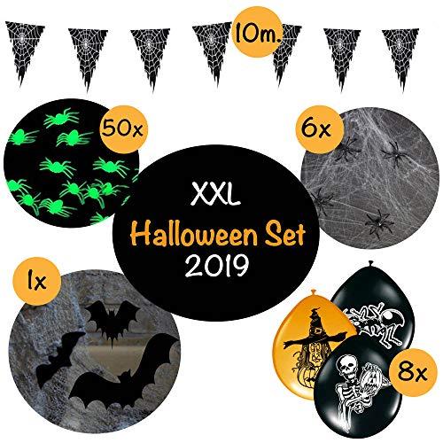 L+H Halloween Decoratie XXL Set in Premium KWALITEIT │ ruim 55 delen │ groot vleermuisnet en spinnenweb │ lichtende spinnen luchtballonnen slinger │ Deco ideaal geschikt voor de Halloween Party