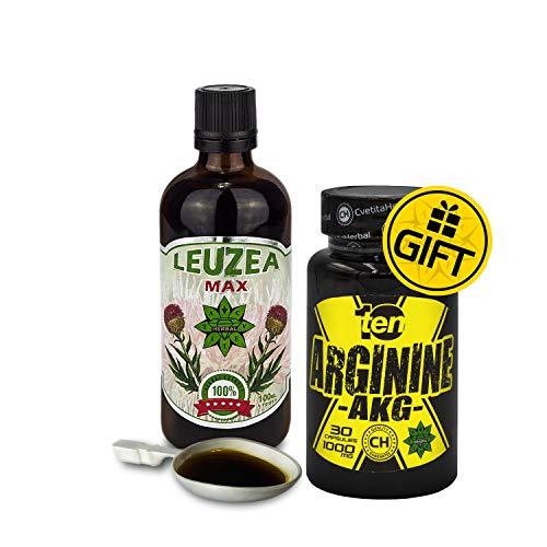 Cvetita Herbal, Leuzea carthamoides 100ml extracto líquido natural + REGALO Arginina AKG/ECDYSTERONE, fuerza, resistencia, antioxidante, bioestimulante, adaptógeno, rendimiento físico