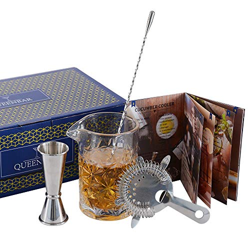 LESI Classic Cocktail Mixing Glass Set Crystal Stirring Glass Bartender Kit 4-Piece with Spoon, Strainer, Jigger