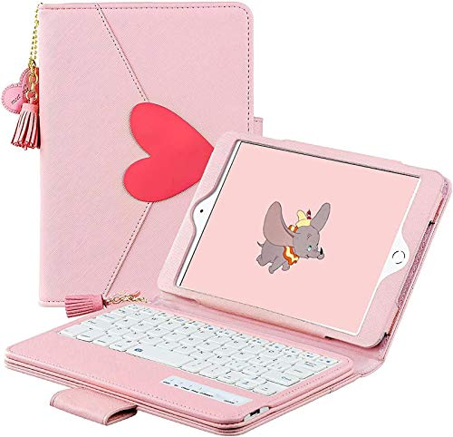 FANG Keyboard Case for Ipad 10.2 8th/7th Generation 2020/2019, Cute Pink PU Leather Stand Portfolio Cover with Detachable Bluetooth Keyboard And Adjustable Viewing Angles