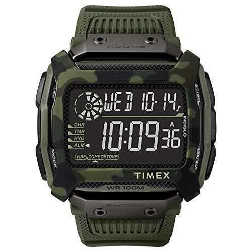 Timex Command Shock - Reloj casual para hombre, correa de resina de cuarzo, 54 mm, color verde, 24 (modelo: TW5M20400)
