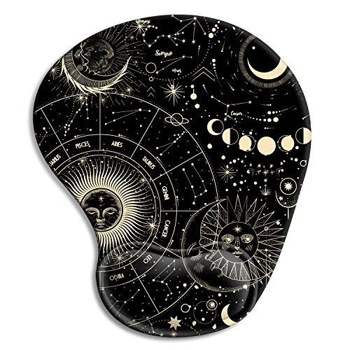 Ergonomic Mouse Pad with Gel Wrist Rest Support, HOMKUMY Cute Mouse Pads with Non-Slip Rubber Base Wrist Rest Pad for Home, Office & Travel Easy Typing & Pain Relief, Moon Vintage