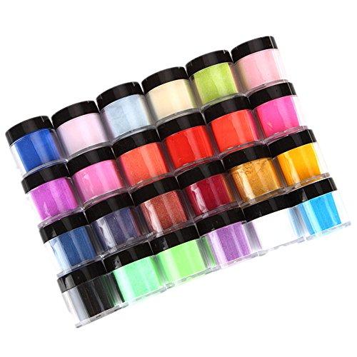 KEERADS 24 couleurs acrylique nail art astuces UV gel poudre poudre design décoration 3d manucure, Faux Ongles et Nail Art (24 PCS)