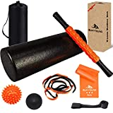 Foam Roller Set, 8 in 1, 18' Muscle Foam Roller with Muscle Roller Stick,Spiky Massage Ball, Solid Ball, Stretching Strap, Resistance Band and Door Anchor, Perfect for Pain & Tightness Relief Home Gym