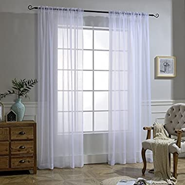 NICETOWN White Crinkle Sheer Curtain Panels Window Treatment Rod Pocket and Back Tab Crushed Voile Sheer Curtains for Patio/Villa / Parlor/Sliding Door (Set of 2, 52 Wide x 95 inch Long)