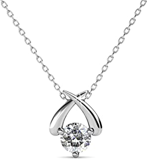 Cate & Chloe Eloise White Gold Pendant Necklace, Women's 18k White Gold Plated Necklace with a Unique Sparkling Solitaire ...