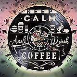 FDGFDG Keep Calm Vinyl Record Reloj de Pared Coffee Artwork Decor Reloj de Pared Diseño Moderno Cafe Barista Office Decor 3D Reloj de Pared Relojes