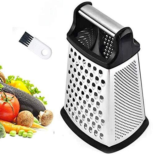 JUYILSU Rallador de 4 lados de acero inoxidable, rallador de cocina para rallar frutas y verduras, zanahorias, queso, apto para lavavajillas