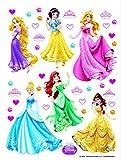 1art1 Disney Prinzessin - Rapunzel, Aurora, Cinderella, Arielle, Belle Wand-Tattoo | Deko Wandaufkleber für Wohnzimmer Kinderzimmer Küche Bad Flur | Wandsticker für Tür Wand Möbel/Schrank 65 x 42 cm