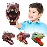 Dinosaur Hand Puppets for Kids, 3 Pack Soft Rubber Realistic Allosaurus Giganotosaurus Yutyrannus Puppet Dinosaur Toys Dino Head for Boys Girls Adults Gift