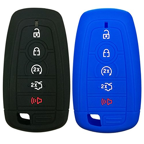 Coolbestda 2Pcs Silicone Smart Key Fob Skin Cover Protector Keyless Jacket Remote Holder for 2019 2018 2017 Ford Fusion F250 F350 F450 F550 Edge Explorer 5buttons Smart Key