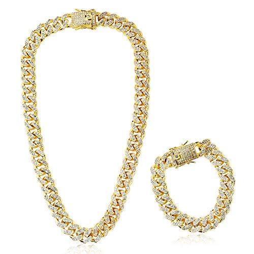 Collar Cadena 45cm + Pulsera 20cm con Diamante de Imitación Dorado Hip Hop Cubana para Hombre Mujer de Aleacion