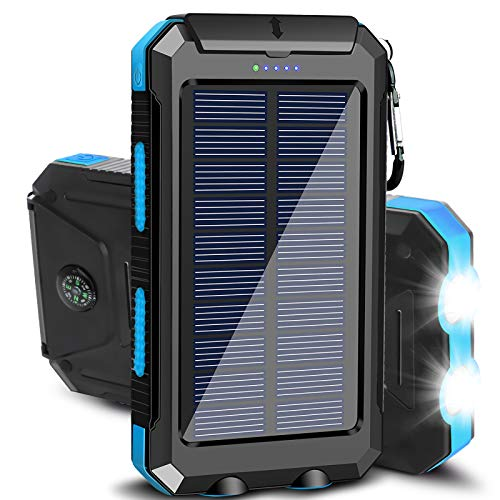 Solar Charger 20000mAh Portable Outdoor Waterproof Solar Power Bank, Camping External Backup Battery Pack Dual 5V USB Ports Output, 2 Led Light Flashlight with Compass (Blue)