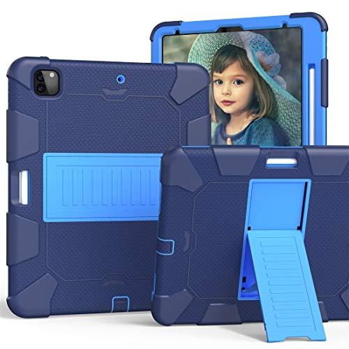 JIANWU Funda para iPad Pro de 12,9 (2018) / (2020) a prueba de golpes, funda protectora de silicona de dos colores con soporte (color: azul oscuro + azul)