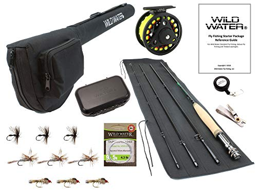 Wild Water Fly Fishing 9 Foot, 4-Piece, 3/4 Weight Fly Rod Complete Fly Fishing Rod and Reel Combo Starter Package