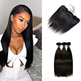 SingleBest Straight Human Hair 3 Bundles With Frontal Brazilian Virgin Hair Weave And 13x4 Ear To Ear Lace Frontal Closure With Baby Hair Natural Color(14 14 14 +12frontal,Three Part)