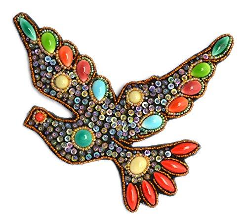 Broche grande paloma negro (porcelana y cuentas de cristal–Bijou Fantasía