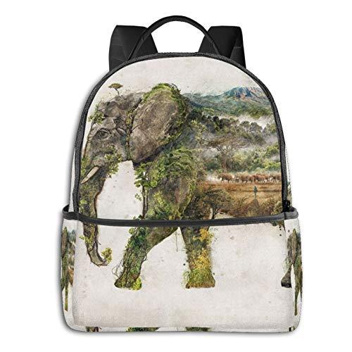 Mochila escolar unisex con diseño de elefante africano, 36,8 x 30,5 x 12,7 cm
