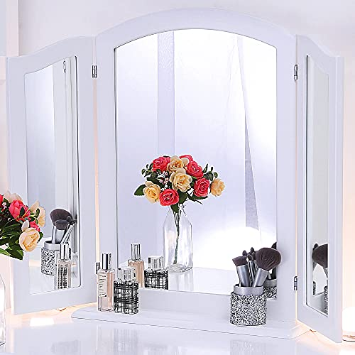 Chende Large Trifold Mirror on Stand, 32.67' X 23.62' Three Way Vanity Mirror with Detachable Wooden Base, White Triple Mirror for Tabletop or Wall Mounted