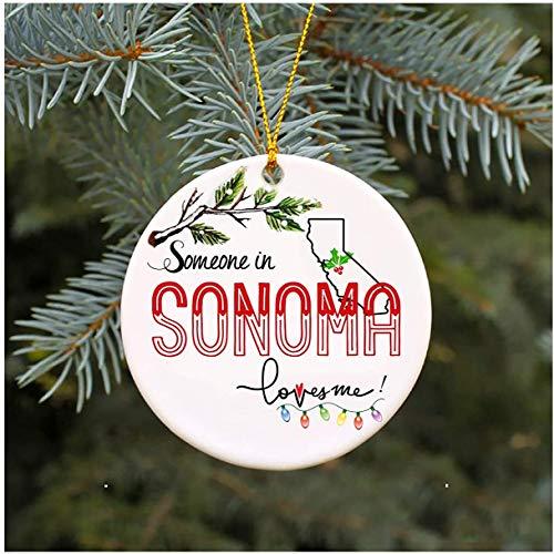 JamirtyRoy1 3' Christmas Ornament, Someone In Sonoma California Loves Me CA Xmas Gifts Cute Owl Family Keepsake Present Xmas Present Mom Dad Wife Husband Ceramic Keepsake Gift, Xmas Ornament