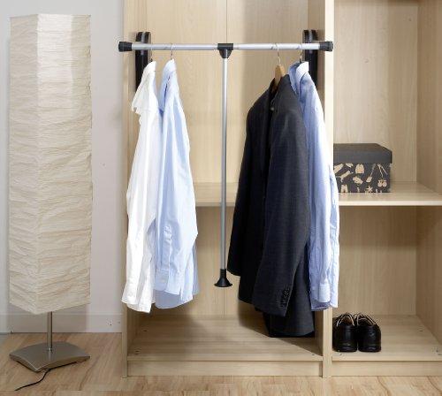 Wenko Garderobenlift, schwenkbare Kleiderstange, 87-130 x 86,5 cm, silber matt