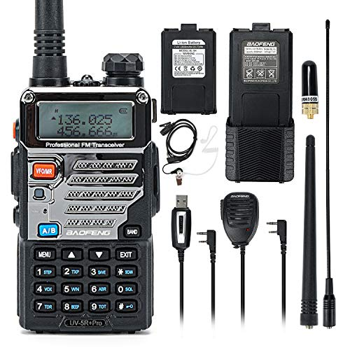 BaoFeng UV-5R Pro Dual Band Two Way Radio with one More 3800mAh Battery, Hand Mic, Acoustic Tube Surveillance Earphone, USB Programming Cable, NA-771 Antenna and SRH805S Antenna Radio