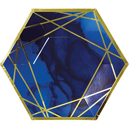 Blue and Gold Octagon Paper Plates, 10' - 8 Pcs.