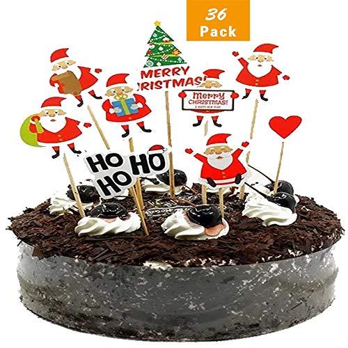 WELLXUNK Cake Toppers Weihnachten Kuchendekoration 36 Stück Weihnachtskuchen Topper Kinder Kuchen Topper Baby Party Geburtstagsfeier Kuchen Dekoration Lieferungen