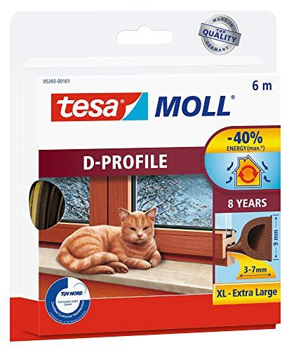 tesa 05393-00101-00 05393-00101-00-Burlete de caucho perfil Dpara desajustes grandes-6m x 9mm Marrón, Not_applicable, No aplica