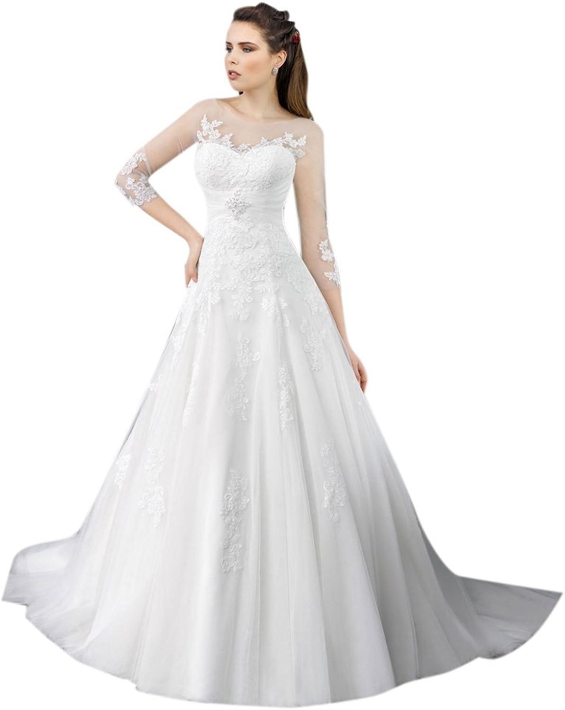 Dearta Women's ALine Scoop Neck Court Train Tulle Wedding Dresses
