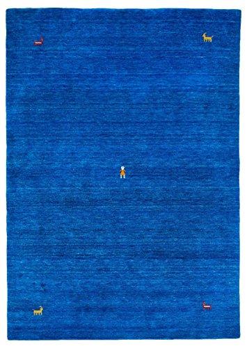 Morgenland Gabbeh SAHARA Teppich Blau Einfarbig Tier Handgewebt Schurwolle 200 x 80 cm Läufer