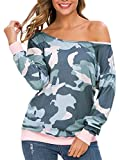 RJXDLT Women's Off Shoulder Sweatshirt Slouchy Pullover Tops Long Sleeve Camouflage Print Army Green 3XL 242