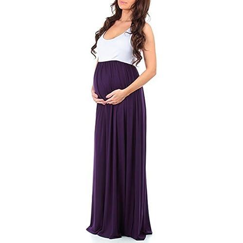 4ad4acc0eaac5 Womens Sleeveless Maxi Maternity Dress Casual Ruffled Color Block Tank Dress