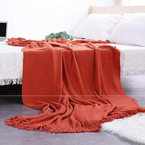 Amosiwallart Flannel Fleece Blanket Throw Home BlanketFluffy Blanket Warm Bed Throws for Sofa and PetExquisite Comfortable Flannel Fleece Blanket-Orange tablet_130*170cm